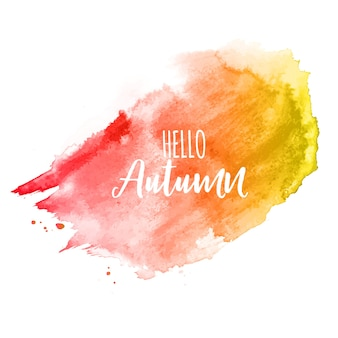 Shiny hello autumn watercolor splash background
