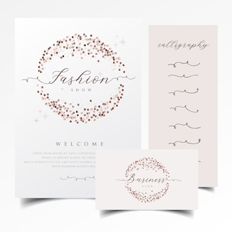 Shiny invitation and business card design with rose gold confetti