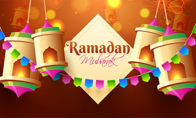 Shiny lanterns illuminating for holy islamic month of fasting