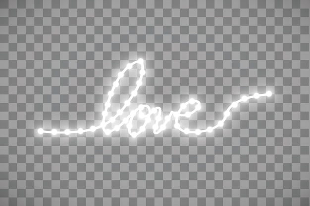 透明の愛の言葉の形をした光沢のあるledストリップ。