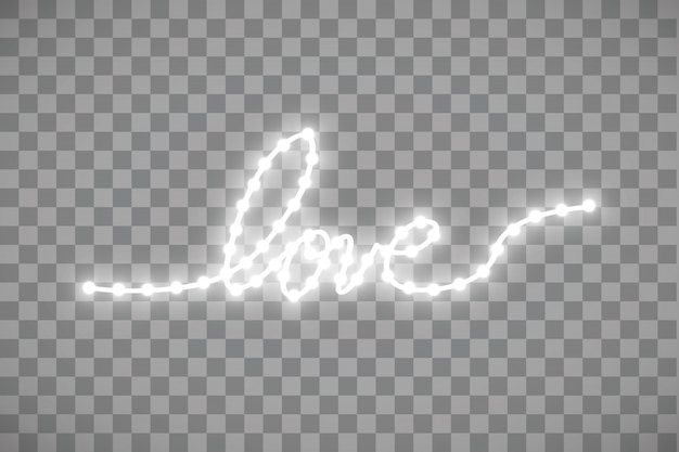 Shiny led strip in the shape of a heart on a transparent background