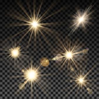 Набор векторных световых искр на прозрачном фоне