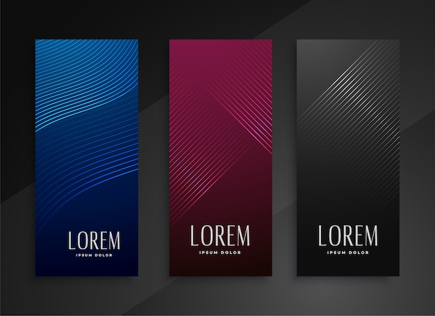 Shiny line style vertical banners set design