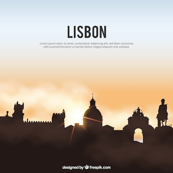Shiny lisbon skyline background