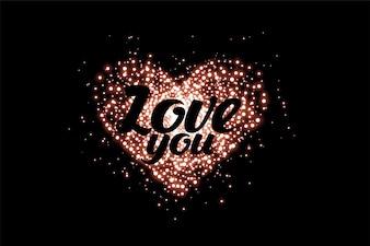 Блестящее любовное сердце из блесток