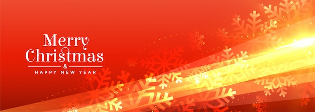 Shiny merry christmas snowflakes orange banner