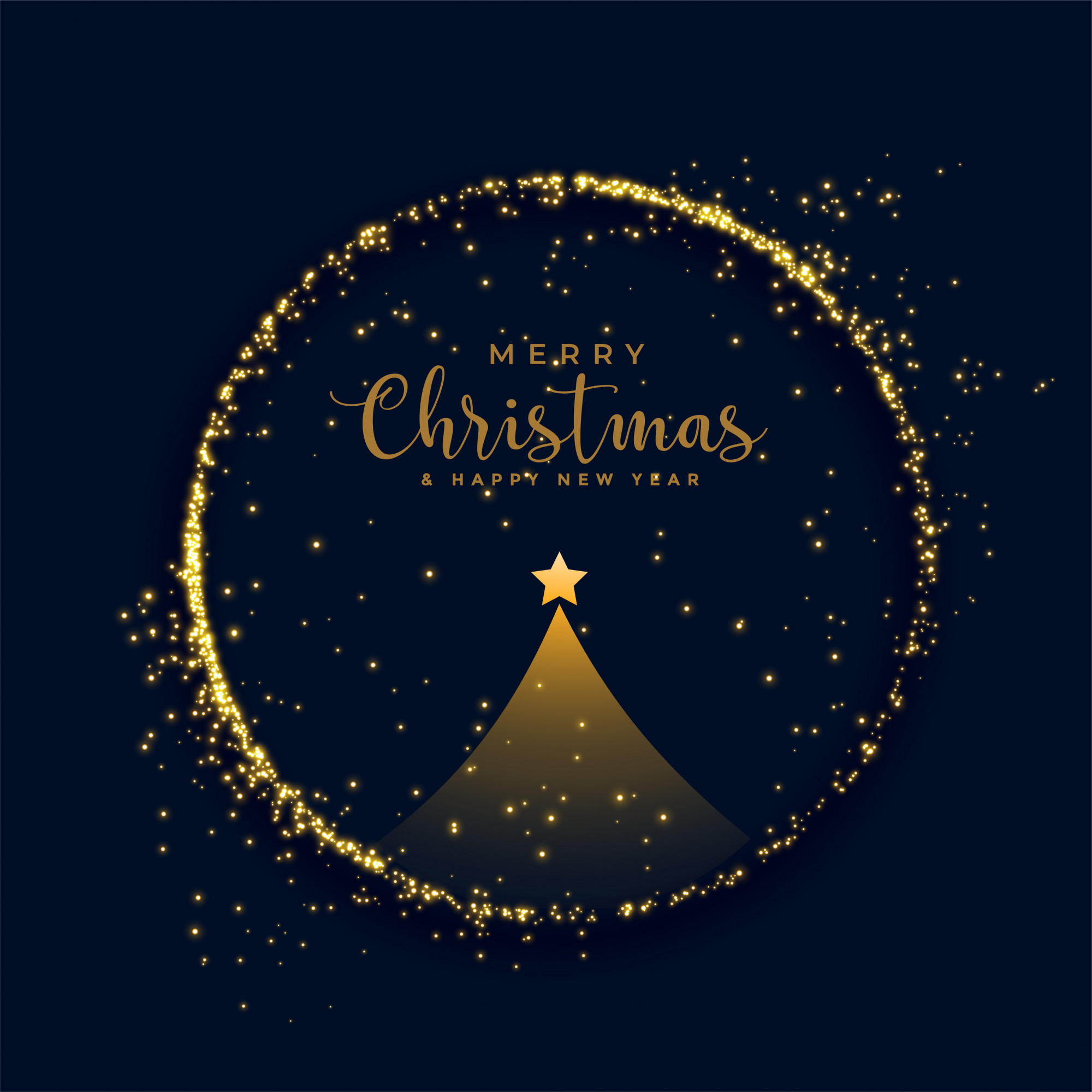 Shiny merry christmas tree golden particles background