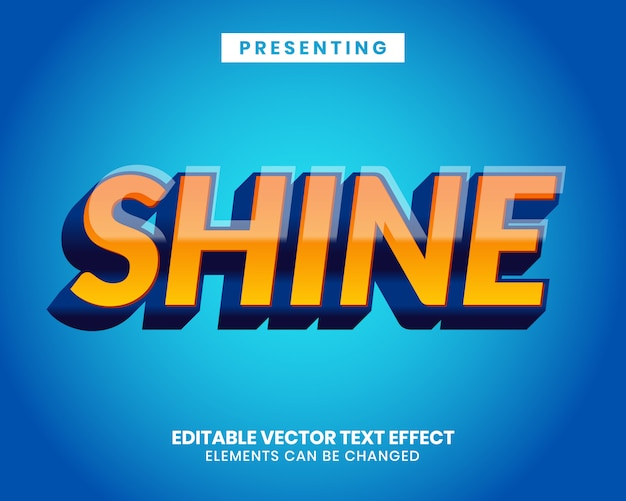 Shiny modern editable text effect with vibrant color gradient