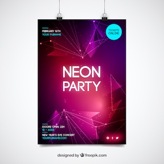 Shiny modern neon party poster template