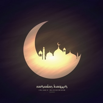 Shiny moon and mosque background
