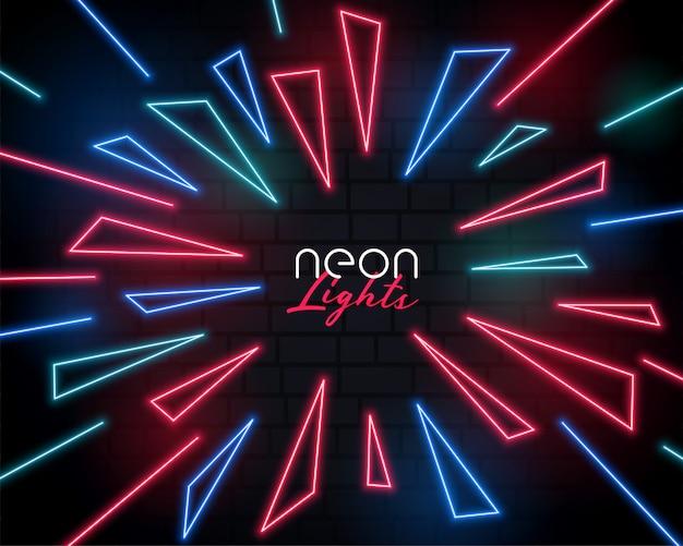 Shiny neon light burst style abstract