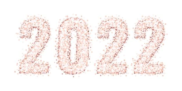 흰색 배경에 격리된 핑크 골드 반짝이 또는 색종이 조각의 빛나는 숫자 2022