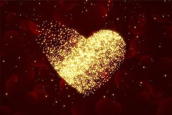 Блестящие частицы сердца фон на день Святого Валентина