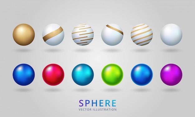 Блестящий жемчуг, изолированные на прозрачном фоне. разноцветные шары, сферические шары и круглые стеклянные кнопки. Premium векторы