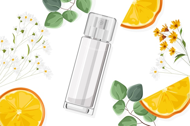 Shiny perfume spray bottle with flowers and fruits