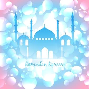 Shiny pink and blue design for ramadan kareem