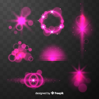 Shiny pink light effects collection