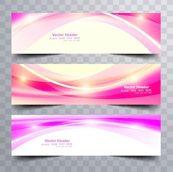 Shiny pink wavy banners
