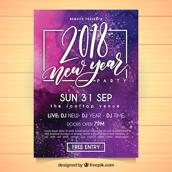 Shiny purple new year party flyer template