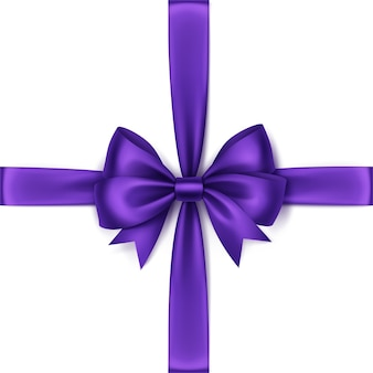 Shiny purple violet satin bow and ribbon top view close up isolated
