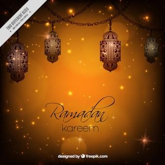 Блестящая рамадан фон с фонарями
