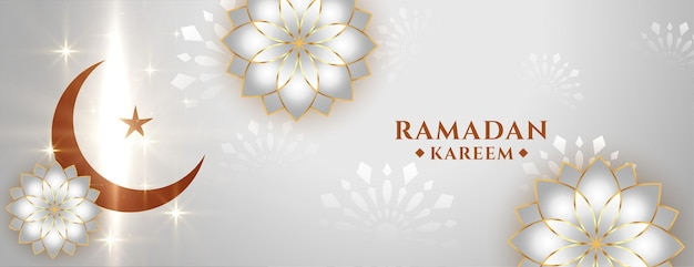 Banner decorativo in stile arabo lucido ramadan kareem
