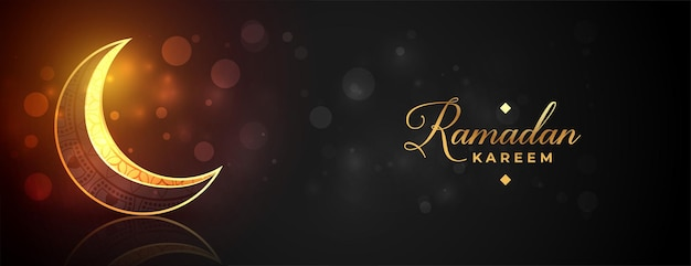 Shiny ramadan kareem golden moon banner design