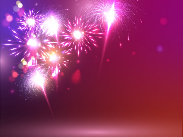 光沢のある現実的なカラフルな花火の背景。