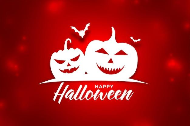 Sfondo rosso brillante con zucche di halloween