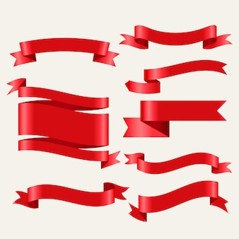 Shiny red classic ribbons set in 3d style