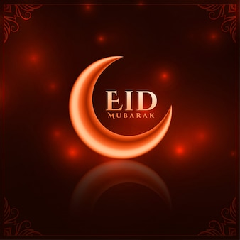 Shiny red eid festival beautiful greeting background