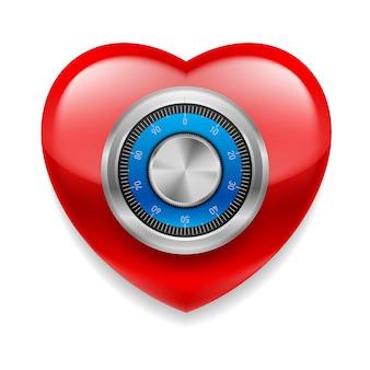 Блестящее красное сердце как сейф