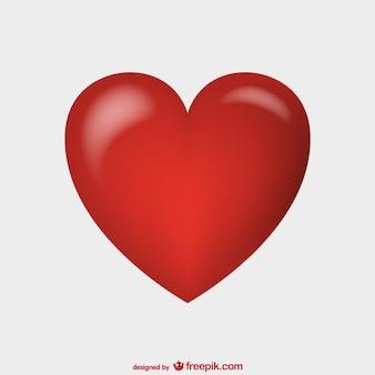 Lucido vettore cuore rosso