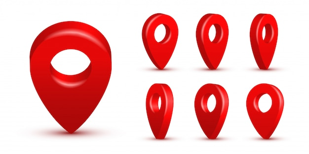 Shiny red realistic map pins set, 3d pointers isolated. location symbols in various angles