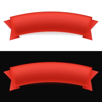 Shiny red ribbon on white and black background