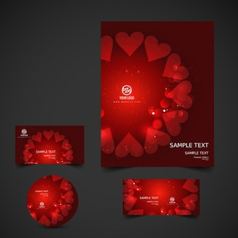 シャイニー赤バレンタイン文房具