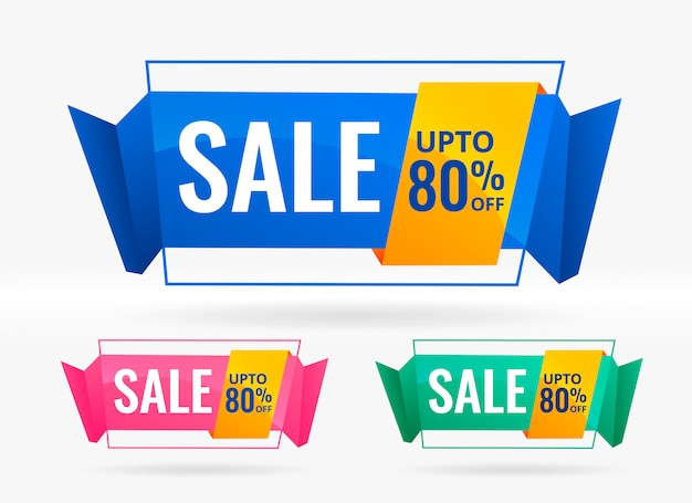 Shiny sale and discount banners set