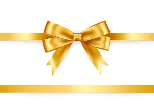 白い背景の上の光沢のあるサテンリボン。ペーパーボウゴールドカラー。ギフトカードと割引券のベクトル装飾。