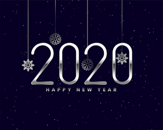 Shiny silver 2020 new year card with snowflakes