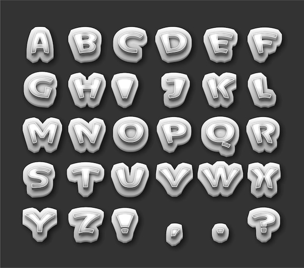 Shiny silver 3d style text effect free vector