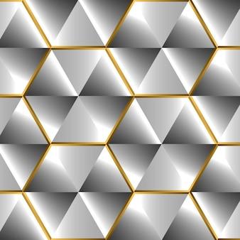 D効果のある光沢のあるシルバーの背景とフレアのある金色の光沢のある要素