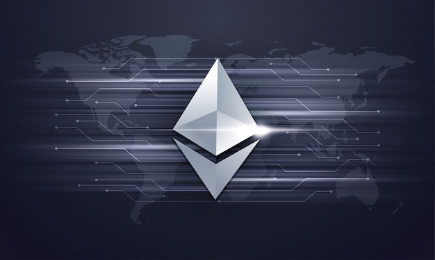 Shiny silver ethereum coin