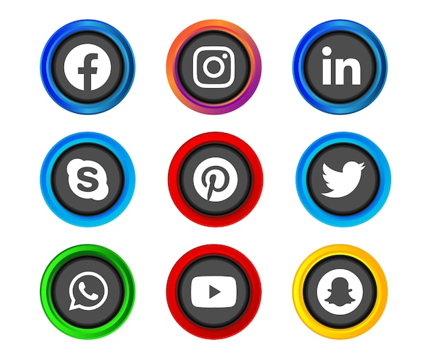 Shiny silver frame social media icon button of facebook instagram linkedin skype pinterest twitter whatsapp youtube and snapchat with gradient effect set for ux ui online use