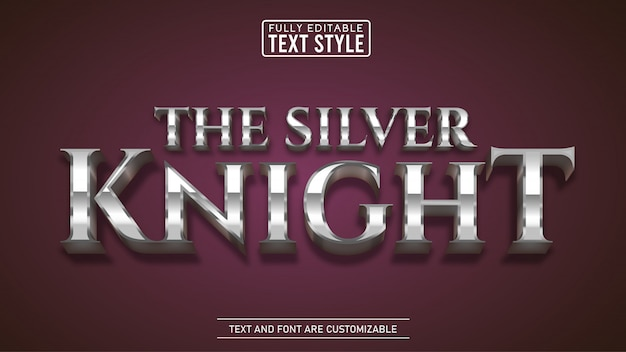 Shiny silver metallic game and movie title editable text effect