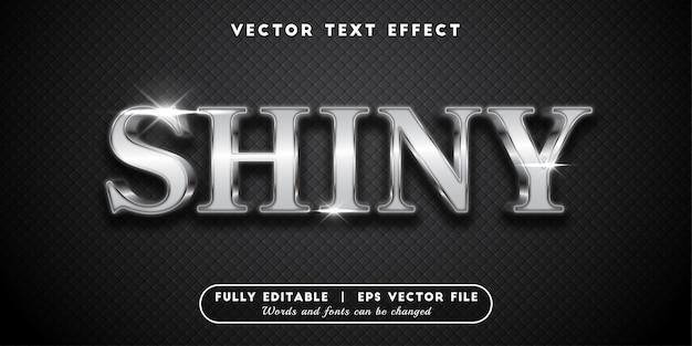 Shiny silver text effect, editable text style