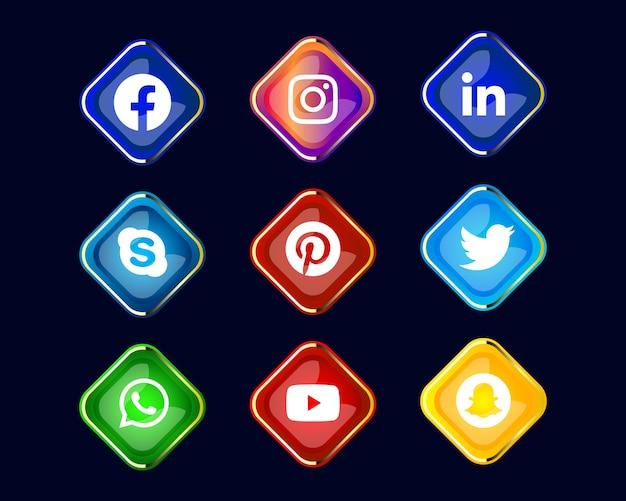 Блестящий значок социальных сетей или коллекция логотипов