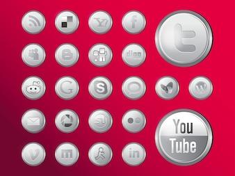 Shiny social media icons vector