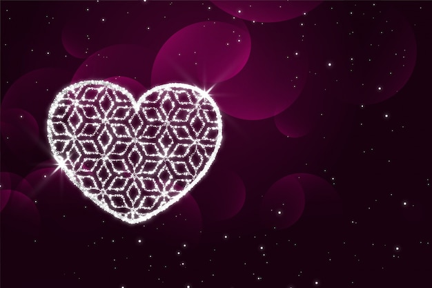 Shiny sparkles heart purple valentines day background
