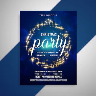 Shiny sparkling christmas party poster flyer template design