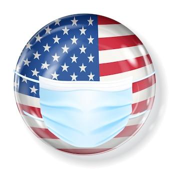 コロナウイルスから保護するための医療用マスクを備えた米国旗の色の光沢のある球体